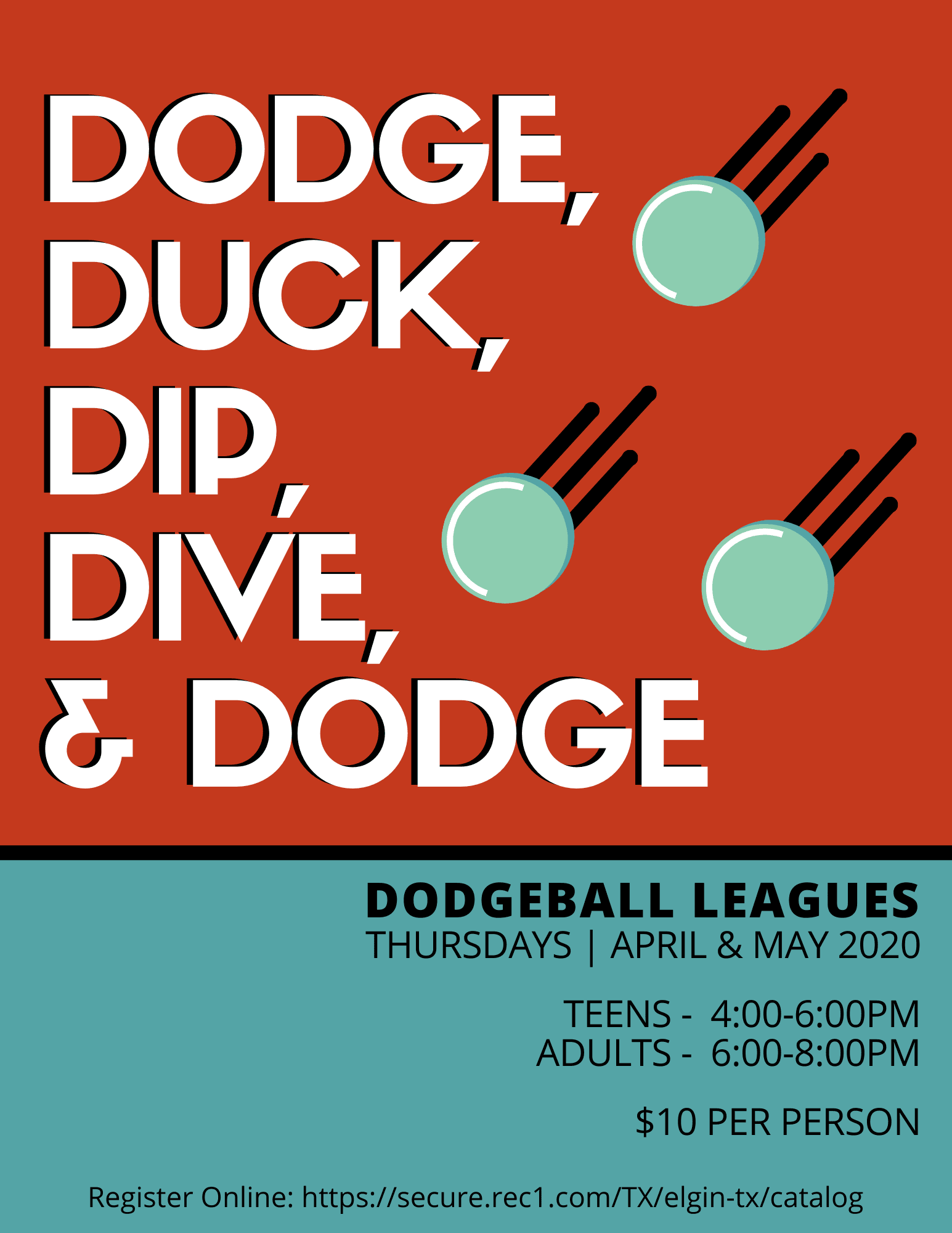 Adult and Teen Dodge Ball League Poster