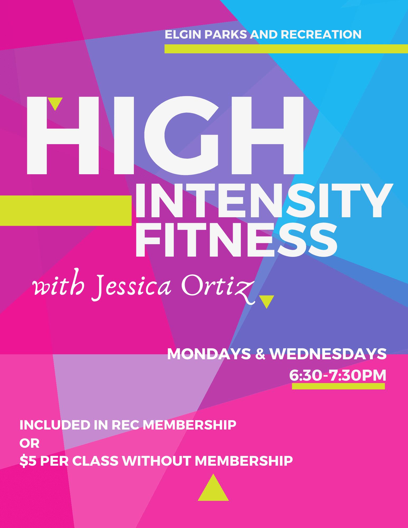 HIIT Class Poster - Mondays and Wednesdays